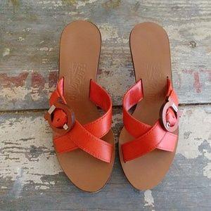 Ferragamo Orange Spring sandals Mules slides 5.5